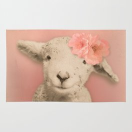 Flower Sheep Girl Portrait, Dusty Flamingo Pink Background Rug
