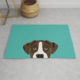 Boxer brindle coat dog breed pet portrait dog head peeking cute dog gifts for boxers Rug