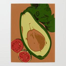 Avocado and guavas Poster
