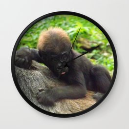 Baby Gorilla Riding Mother's Back Wall Clock
