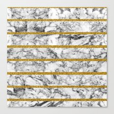 Black white marble gold glitter effect stripes  Canvas Print