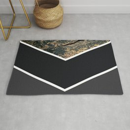Scandinavian Gold Concrete Black Gray Geometric Pattern Rug