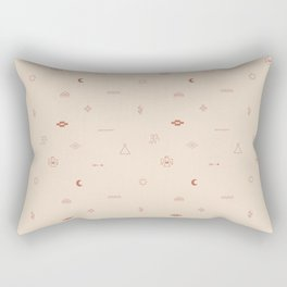 Southwestern Symbolic Pattern in Coral & Cream Rectangular Pillow