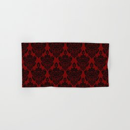 Crimson and Black Damask Hand & Bath Towel