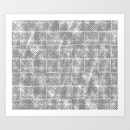 White and Black Distressed Diagonal Lines Pattern Vintage Unique Artistic Style Design Art Print