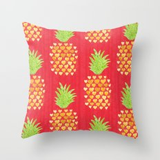 Heart Pineapples Throw Pillow