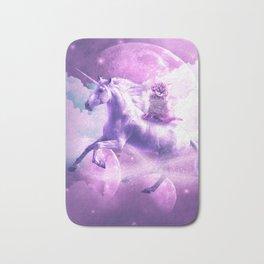 Kitty Cat Riding On Flying Space Galaxy Unicorn Bath Mat