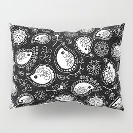 Hedgehog Paisley_White and Black Pillow Sham