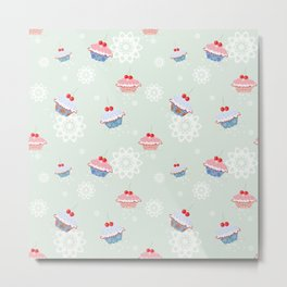 Seamless pattern with cupcakes on green background Metal Print