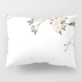 pink cherry blossom Japanese woodblock prints style Pillow Sham