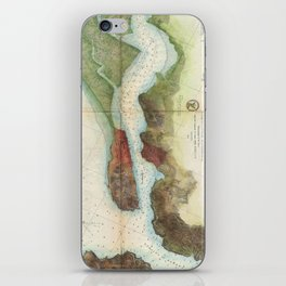 Vintage Mare Island Strait and Vallejo Map (1857) iPhone Skin