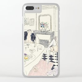 Brunch vintage nude hand colored blonde female male dining Clear iPhone Case