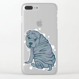 Bubbly Blue Sharpei Clear iPhone Case