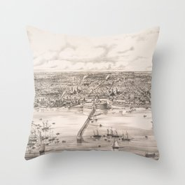 Vintage Pictorial Map of Buenos Aires Argentina (1850) Throw Pillow