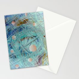 Blue Square and planet Stationery Cards