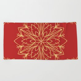 Golden Snowflake Beach Towel