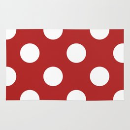 Large Polka Dots - White on Firebrick Red Rug