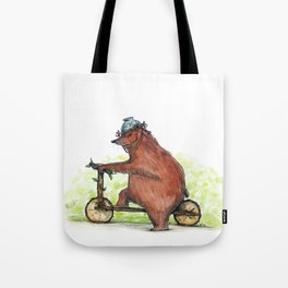 Bear Bike Tote Bag