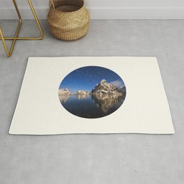 Mid Century Modern Round Circle Photo Graphic Design Swirling Star Sky Above Mountains Rug