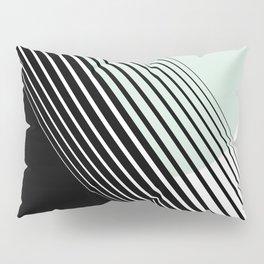 Rising Sun Minimal Japanese Abstract White Black Mint Green Pillow Sham