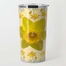 PURPLE PANSIES & DAFFODILS FLOWERS GARDEN MODERN ART Travel Mug