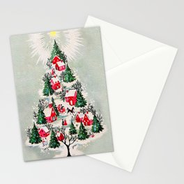 Vintage Christmas Tree Village Stationery Cards