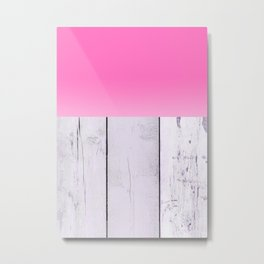 Abstract Pattern - Raspberry - Wood Texture Metal Print