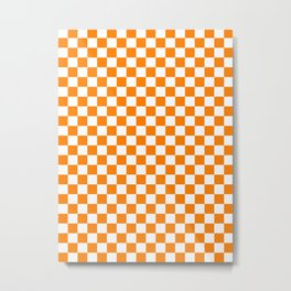 Small Checkered - White and Orange Metal Print