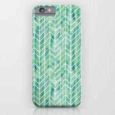 Caribbean green watercolor pattern iPhone 6s Slim Case