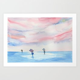 Watercolor ships Art Print