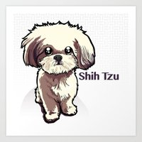 shih tzu Art Prints featuring Alice (Shih Tzu) by BinaryGod.com