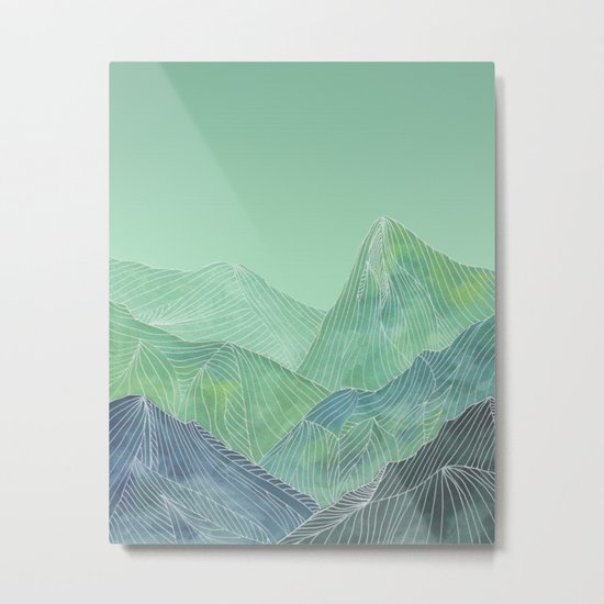 Lines in the mountains - green Metal Print