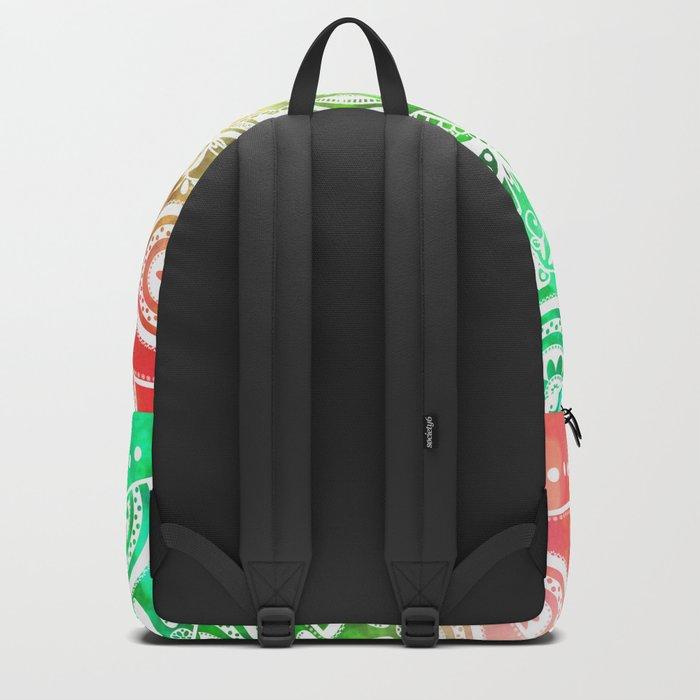 'Tropical Soul' Blue Green Yellow Pink Mandala Backpack