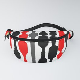red black grey white geometric striped pattern Fanny Pack