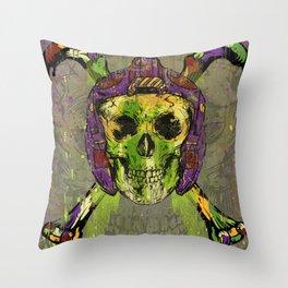 Skull Pilot Throw Pillow