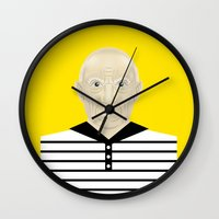 pablo picasso Wall Clocks featuring Pablo Picasso by Matteo Lotti