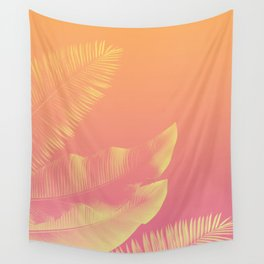 PEACHY LEAVES Wall Tapestry