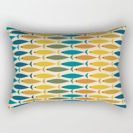 Mid-Century Modern Fish Stripes in Moroccan Stained Glass Teal, Green, Orange, Mustard, and Cream Rectangular Pillow