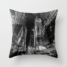 Night at Times Square Throw Pillow