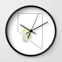 nevada // watercolor sagebrush state flower map Wall Clock