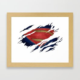 Superman BvS Ripped Symbol Framed Art Print