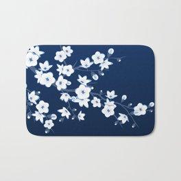 Navy Blue White Cherry Blossoms Bath Mat