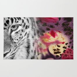 Black & White Leopard & Floral Collage Rug