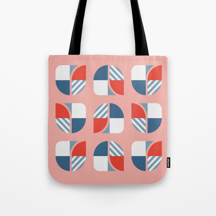 Modern geometry colorful check pattern rose background Tote Bag