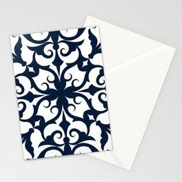 Navy Blue Fleur De Lis Floral Damask Pattern Stationery Cards