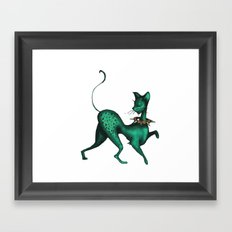 Green Spotted Kitty Framed Art Print