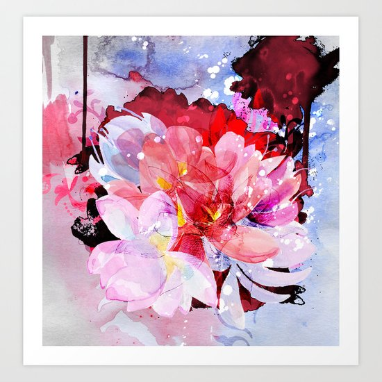 Beautiful flowers bouquet. Watercolor illustration Art Print