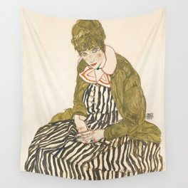 """Egon Schiele """"Edith with Striped Dress, Sitting"""" Wall Tapestry"""