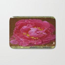 Vintage Grundy Pink Peony Antique Photo Bath Mat
