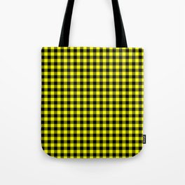 Classic Yellow Country Cottage Summer Buffalo Plaid Tote Bag